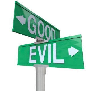 Good versus evil sign