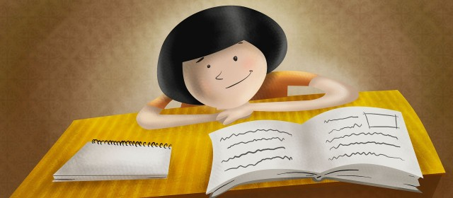 cartoon girl reading